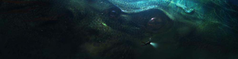 Um pequeno mergulhado e um monstro abissal ao fundo. Arte por Stephen Zavala