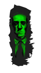 Arte representando H. P. Lovecraft se transformando em uma de suas criaturas. (arte por: Lívia Serrano) MITOS DE CTHULHU